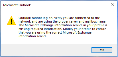 Outlook cannot log on.