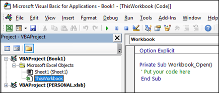 ThisWorkbook module in the Visual Basic Editor (VBE)
