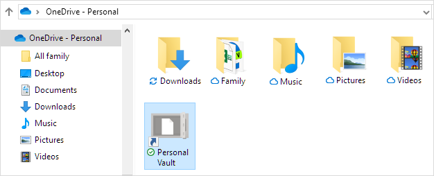 OneDrive Personal Vault shortcut