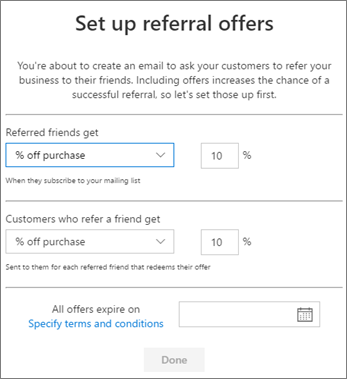Fill in the offers for your referral in the Business center