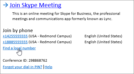 Find a local number to join a Skype for Business meeting - Skype for