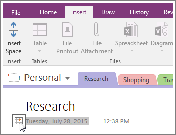Screenshot of how to change the date stamp of a page in OneNote 2016.