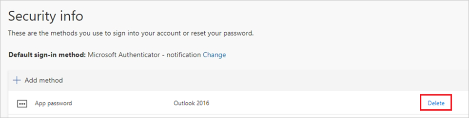 Screenshot that shows deleting an app password on the Security info page