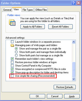 Disable simple file sharing