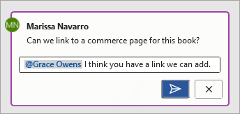 Using @mention in a comment