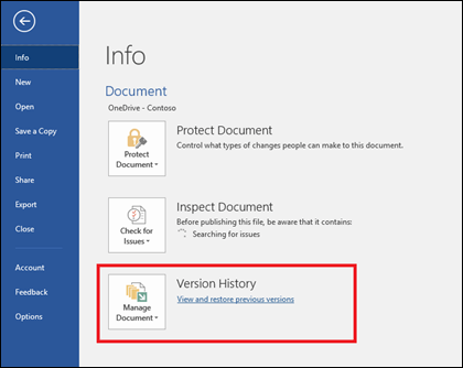 The Manage Versions button lets you restore earlier versions of your document