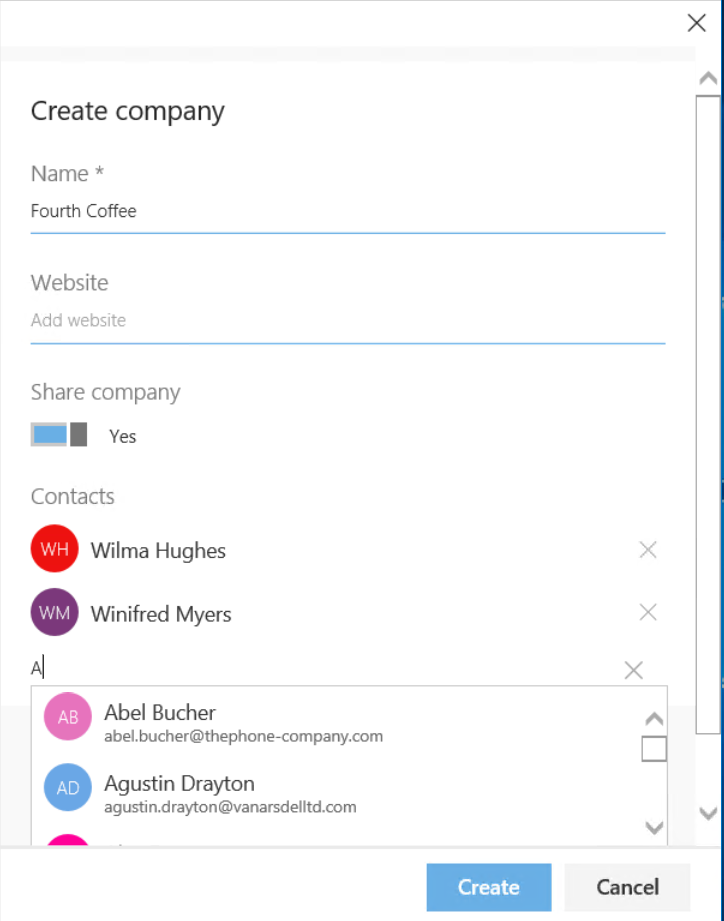 Create a new company and add contacts