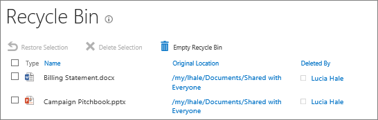how to delete to recycle bin from nas