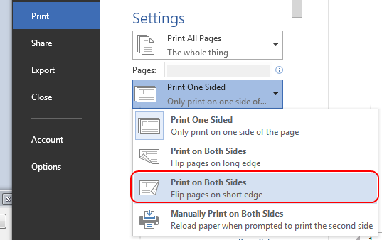 Under Settings, change Print One Sided to Print on Both Sides.