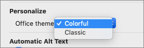 The Office Theme dropdown where the user can select Colorful or Classic theme