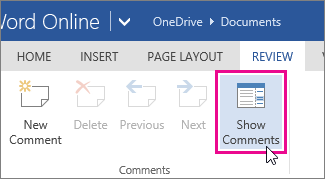 Show Comments from reading view in Word Online