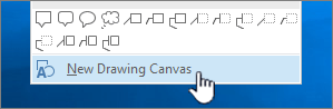 New drawing canvas option at bottom of Shapes menu
