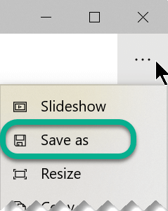On the toolbar, select the ellipsis to open the See More menu, and then select Save As.