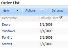 The List Web Part shows only items with the delivery date selected in the SharePoint List Web Part.