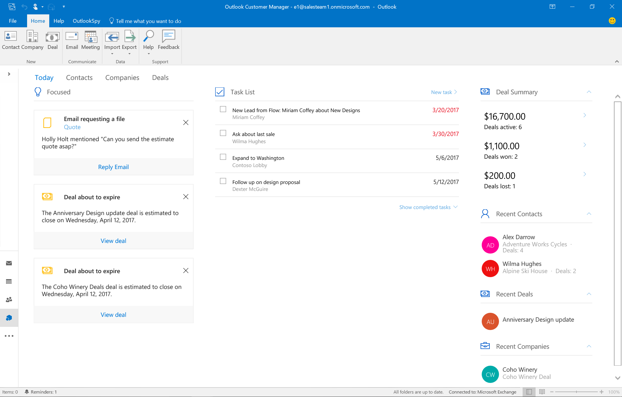 focused items in outlook customer manager