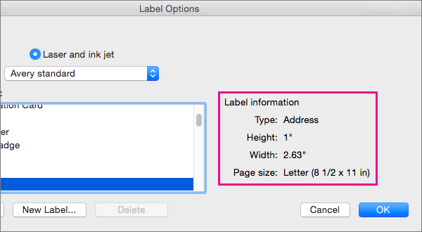 When you select a label product in the Product number list on the left, Word displays its measurements on the right.