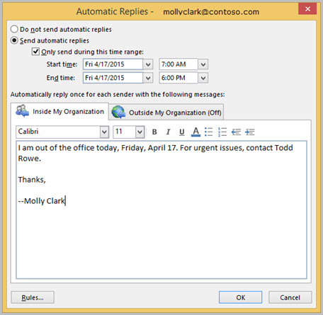 Set automatic replies for inside your organization