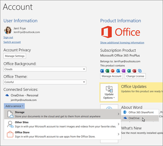 The Account pane in Office apps, highlighting the OneDrive storage selection for the 'Add a service' option under Connected Services