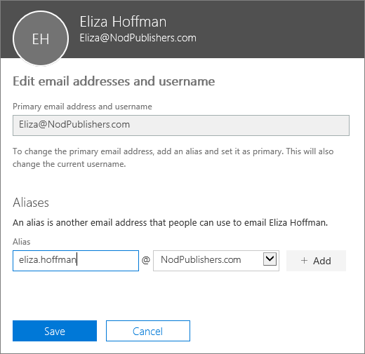 The Edit email addresses and username pane showing the primary email address, and a new alias to be added.