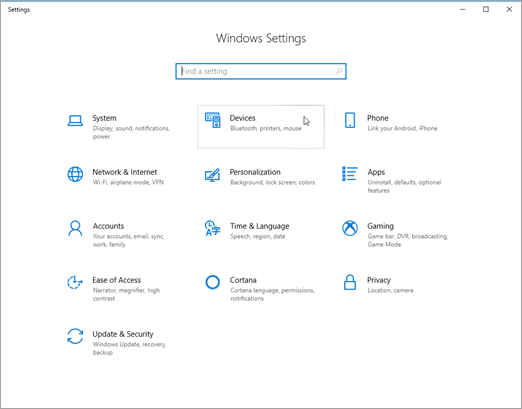 Windows device settings pic