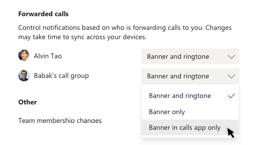 Selecting Banner in calls app only for Alvin Tao's forwarded calls in Settings