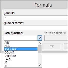 The paste functions of a formula are shown from the Table Tools Layout tab.
