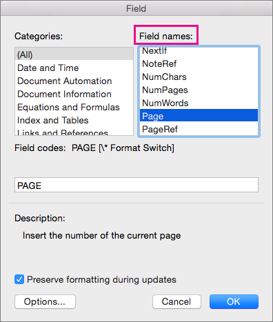 Add page numbers to a header or footer in word for mac word for mac under field names select page ccuart Gallery
