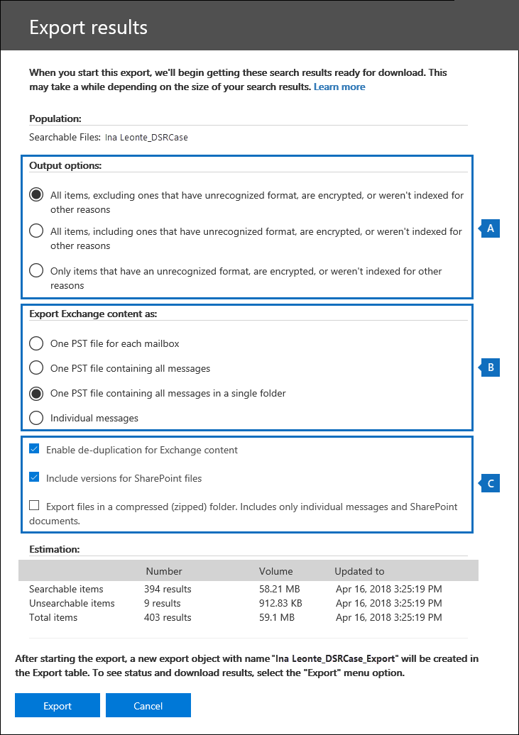 Configure the export settings