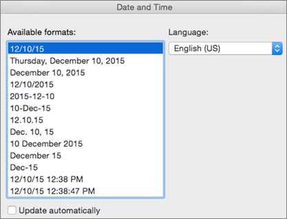 Date and Time dialog box