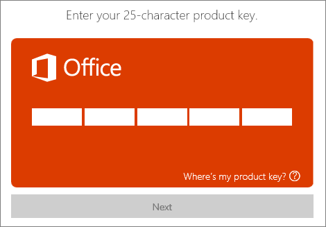 Enter a product key.