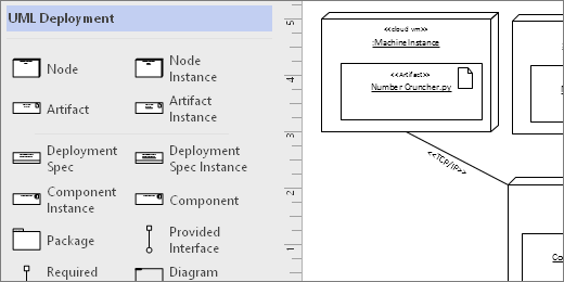 UML Deployment stencil, example shapes on the page
