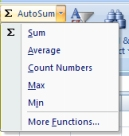 Using the Count Numbers AutoSum command