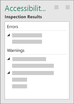 Accessibility Checker Task Pane with Inspection Results