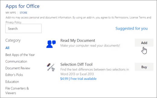 Screenshot of the Apps for Office page in the Store where you can select or search for an app for Word.