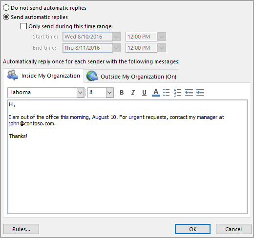 Send Automatic Out Of Office Replies From Outlook Outlook