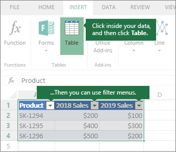 Insert tab, Table button, Filter menus