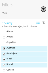 Slicer in Filters pane in the Power BI mobile app