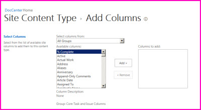 This content type settings dialog lets you choose columns to add to a content type