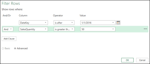 Excel Power BI Advanced Filter Rows dialog within Query Editor
