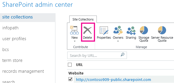 Site collections delete option