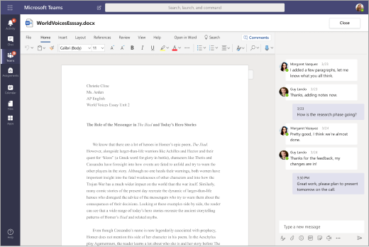 Word document open in Teams with a chat conversation in a panel next to it