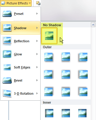 Turn off a picture effect you don't want by choosing the No Effect option.