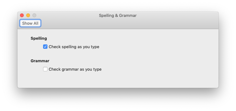 Check spelling as your type preference