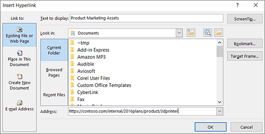 Screenshot of the Insert Hyperlink dialog box
