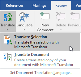 Showing Translate Selection option under Review tab