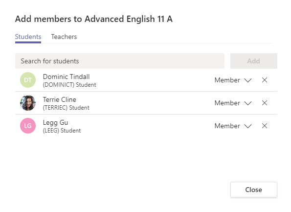 Add students to a team as members