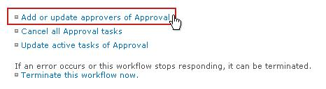 Add or update approvers link