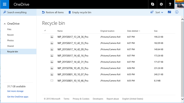 Recycle bin on the OneDrive website