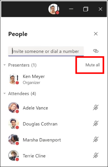 You can mute all participants in a meeting.