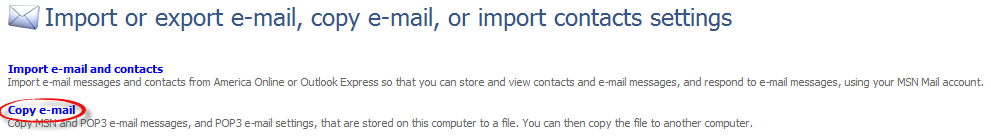 Import or export email, copy email, or import contacts settings